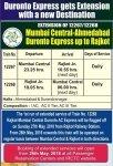 Mumbai-Ahmedabad (Train No. 12267/Train No. 12268) extended upto up to Rajkot Time Table,Route and Run on