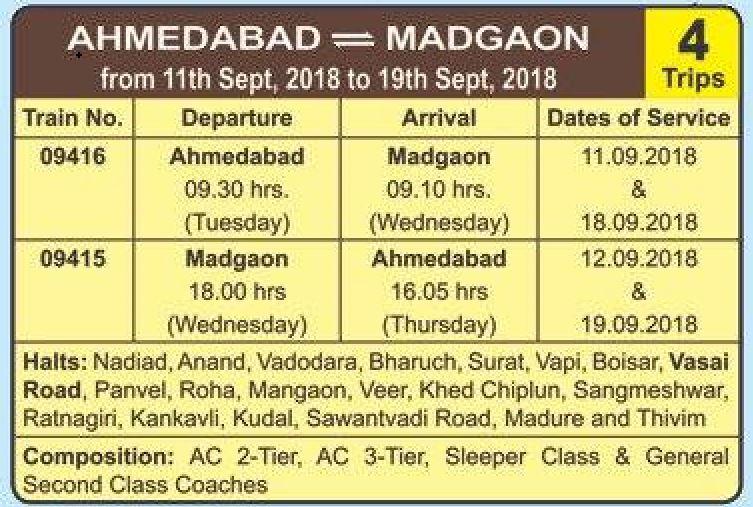 Ganpati Special Train 2018 – Ahmedabad – Madgaon – Ahmedabad