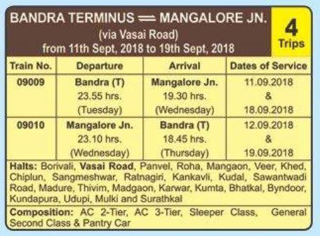 Ganpati Special Train 2018 – Bandra (T) – Mangalore Jn. – Bandra (T)