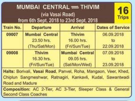 Ganpati Special Train 2018 – Mumbai – Thivim – Mumbai