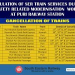 Regulation of SER Train Services Due to Safety Related Modernisation Work At Puri Railway Station