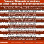Navratri Mela a temporary stoppage at Maihar Station from 10th to 24th October, 2018